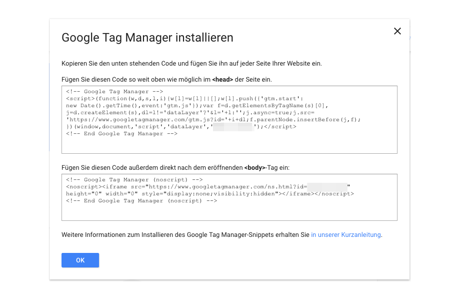 Google tag Manager Code Snippets in Website einfügen