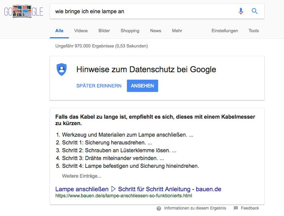 Featured Snippet mit Anleitung