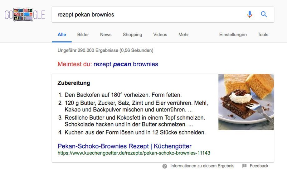Rezept Featured Snippet in Google